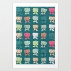 flower cups teal Art Print