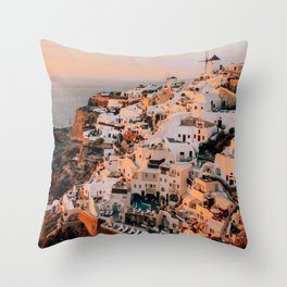 Set on You   Santorini, Greece Throw Pillow
