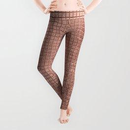 Beautiful Modern Rose Gold Square Pattern Leggings