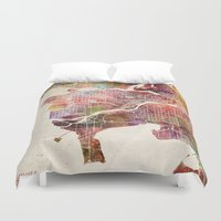 vancouver Duvet Covers featuring Vancouver by MapMapMaps.Watercolors