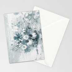 teal flowers on worn wood Stationery Cards