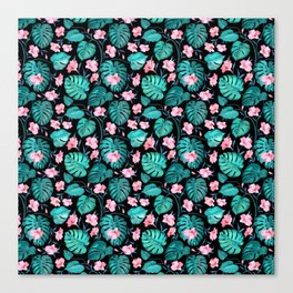Tropical teal pink black vector floral pattern Canvas Print