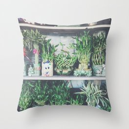 green bamboo plant in the vase pattern background Throw Pillow