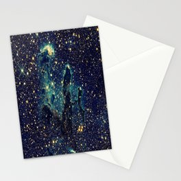 Pillars of Creation GalaxY  Teal Blue & Gold Stationery Cards