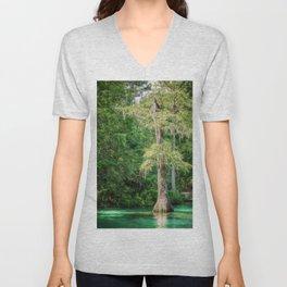 Florida Cypress Tree and Spring Unisex V-Neck