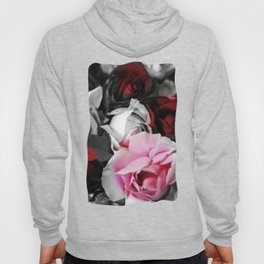 Black and White Roses Fade to Pink and Red Hoody