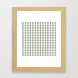 Desert Sage Grey Green and White Gingham Check Framed Art Print