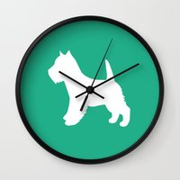 westie Wall Clocks featuring Westie (Mint/White) by Erin Rea