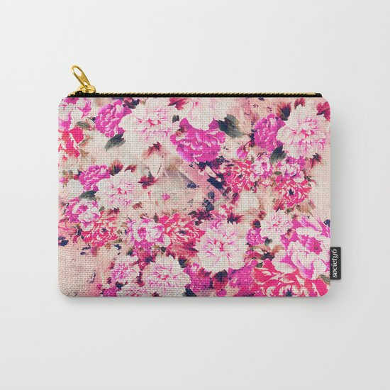 Elegant Pink Chic Floral Pattern Girly Peonies Carry-All Pouch