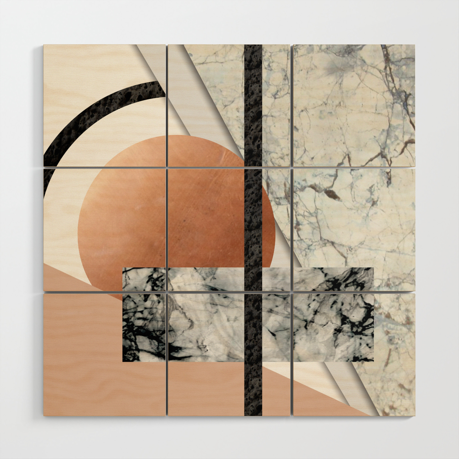 Collage Ii Marble Copper Volcanic Rock Wood Wall Art By Martaolgaklara Society6