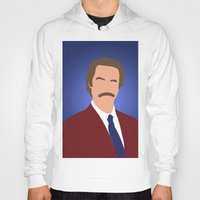 anchorman Hoodies featuring Ron Burgundy - Anchorman by Tom Storrer