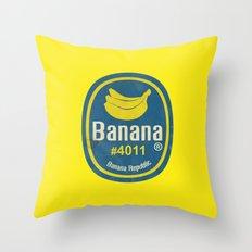 Banana Sticker On Yellow Throw Pillow