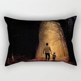 Father and Son in the Woods Rectangular Pillow