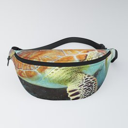 Watercolor Green Turtle Fanny Pack
