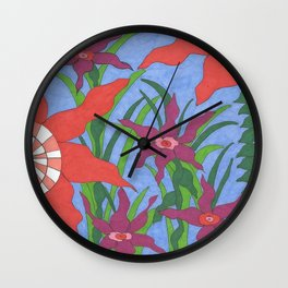 Boho Garden Blues Wall Clock