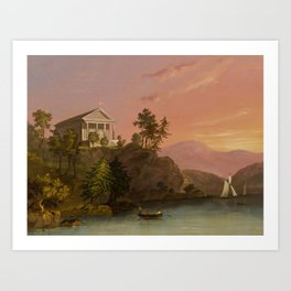 George Cooke(American, 1793-1849)Chapel at Cold Spring Harbor Art Print