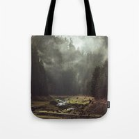 woods Tote Bags featuring Foggy Forest Creek by Kevin Russ