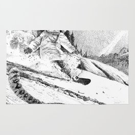 Snowboarder and snow leopard down the slope Rug
