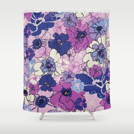Red Violet and Navy Anemones Shower Curtain