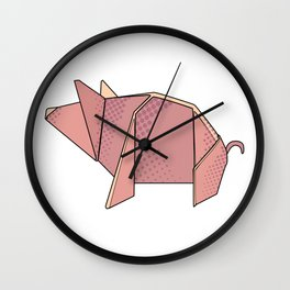 Origami New Year's Pig Wall Clock