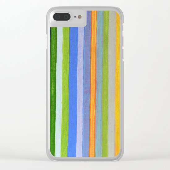 Vibrant Stripes in Orange Green and Blue Clear iPhone Case