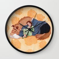 beauty and the beast Wall Clocks featuring Beauty and the Beast by Naineuh