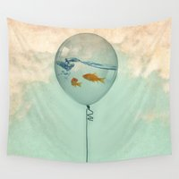 jem Wall Tapestries featuring BALLOON FISH by Vin Zzep