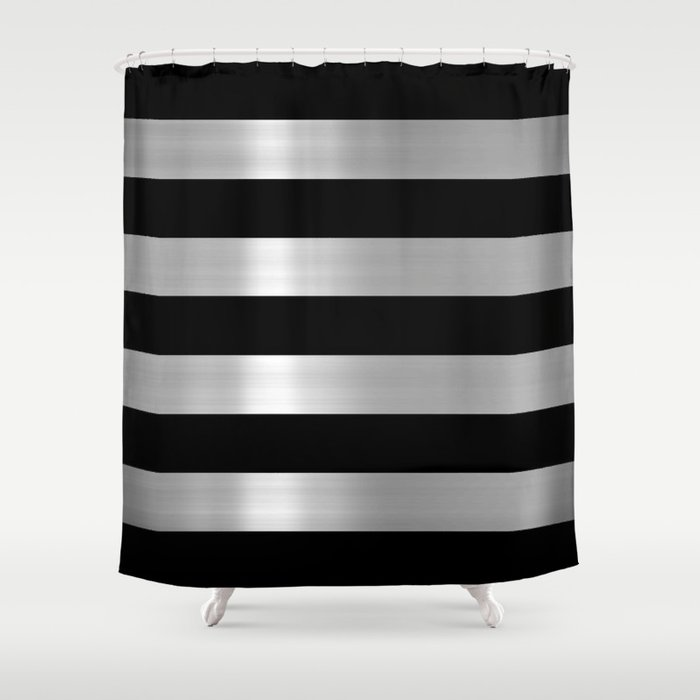 Black Silver Metallic Stripes Shower Curtain By Colormegirly