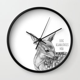 Deer Illustration By Magda Opoka | Animal | Black and White | bw | black-and-white | Animals Wall Clock