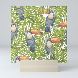 Watercolor Toucan Painting With Tropical Leaves Pattern Mini Art Print