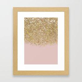 Pink and Gold Glitter Framed Art Print