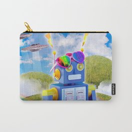 Rainbow Robot Wearing Love Heart Glasses Carry-All Pouch