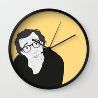 woody allen Wall Clocks featuring Woody Allen by Simone G