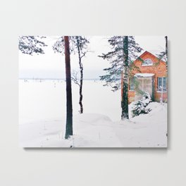 Icy lake view with red brick house Metal Print