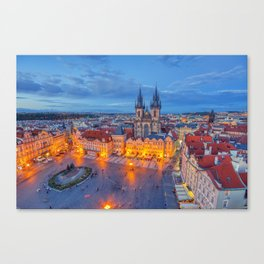 Prague old town square and church of Mother of God before Tyn in Prague, Czech Republic. Canvas Print