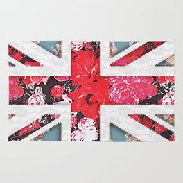 God save the Queen | Elegant girly red floral & lace Union Jack  Rug