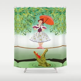 The Umbella girl With crocodile Shower Curtain
