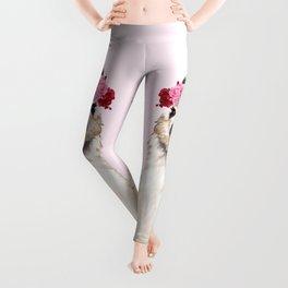 Llama with Pink Roses Flower Crown Leggings