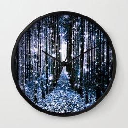 Magical Forest Dark Blue Elegance Wall Clock
