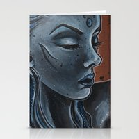 "indigo Stationery Cards featuring Indigo by Barbora ""Mad Alice"" Urbankova"