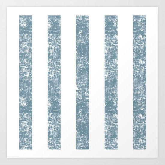 Maritime Navy Beach Pattern- Blue and White Stripes- Vertical - Art Print