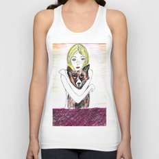 Girl with a dog Unisex Tank Top