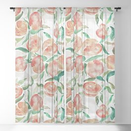 Watercolor Peaches Sheer Curtain