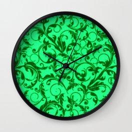 Vintage Swirls Green Leaf Wall Clock