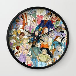 Women Queuing Wall Clock