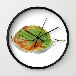 Autumn leaf of hazelnut  Wall Clock