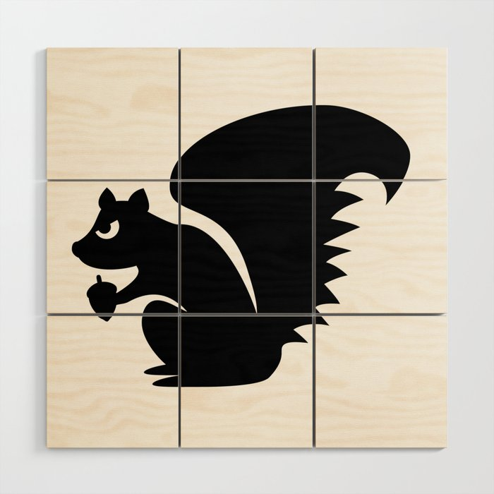 Angry Animals Squirrel Wood Wall Art By Vrijformaat