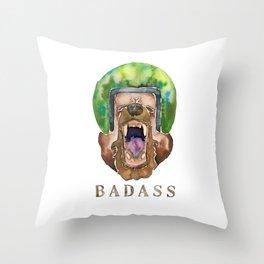 Yawning Badass Bear Throw Pillow