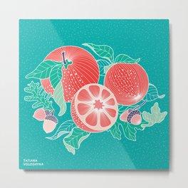 Oranges and Acorns with leaves Metal Print