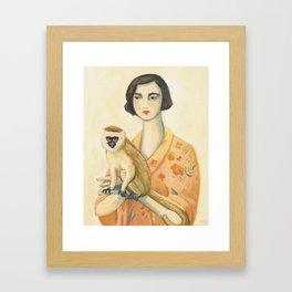 A Lady & A Monkey Framed Art Print